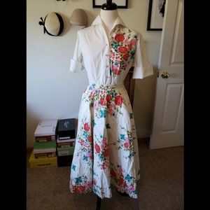 1950's vintage white floral skirt and blouse set